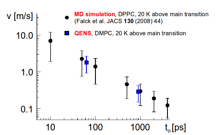 comparison of MD simulation and QENS results for main flow velocity